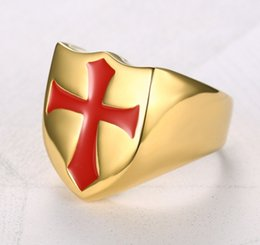 $enCountryForm.capitalKeyWord Australia - New Titanium Steel Stainless Steel Gold-plated Paint Men's Ring of the Red Cross Frame of the Knights Templar 8#--13#