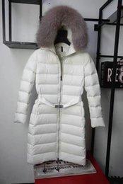 Fur Hooded Zipper Long Style Australia - Winter Jacket Women Real Fur Collar Hooded Outerwear Zipper X-Long Coat Street Style Sashes Down Jackets