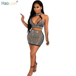 HAOYUAN Sexy Bodycon Mini Rhinestones Sparkle Backless Two Piece Party Dresses  Women Black Off Shoulder Night Club Dress C18121701 c8bb8cd8ff83