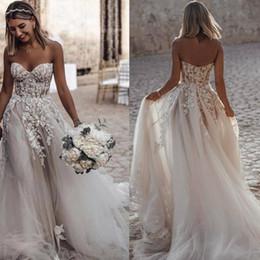 Make church dress online shopping - Boho Beach A line Sweetheart Wedding Dresses Zipper up Back Court Train Tulle Appliques Church Bridal Dress Wedding Gowns Vestido De Novia