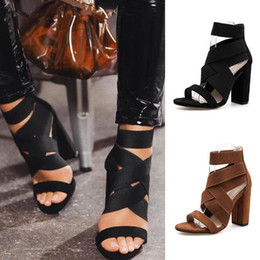 $enCountryForm.capitalKeyWord Australia - Hot Sale-2019 women's sandals summer sexy fashion style brown color slip-on cross gladiator block high heels pumps ladies shoes