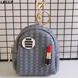Beige Lipsticks Australia - Fashion Mini Lipstick Coin Bag Multifunction Portable Zipper Small Coin Purses Bags Chain Keychain Women Bags