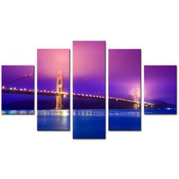 wall art home bridges UK - Modern Canvas Painting 5 Panels Golden Gate Bridge Wall Art Prints Canvas Home Living Room Decor Without Framed