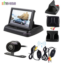 "wireless rear view camera monitor Australia - Wireless Mini Car Reversing Parking Backup Camera System 170 Degree + 4.3"" LCD Foldable Monitor Car Vehicle Rear View Kit"
