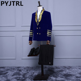$enCountryForm.capitalKeyWord Australia - (jacket+pants) New Double Breasted Royal Blue Velvet Embroidery Mens Male Suits With Pants Wedding Groom Suit For Men Gentleman