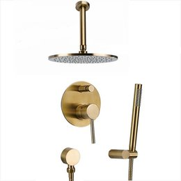 brass arms Australia - Brushed gold Solid Brass Bathroom Shower Set Rianfall Shower Head Wall Mounted Shower Arm Mixer Water Set