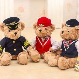 White stuffed animal bears online shopping - 1pc cm Cute Pilot Teddy Bear Plush Toy Captain Bear Doll Birthday Gift Kids Toy Baby Doll Stuffed Animal Toys for Children