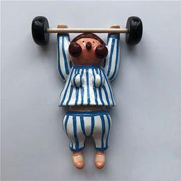 $enCountryForm.capitalKeyWord Australia - Cute cartoon sports weightlifting doll resin refrigerator stickers stereo magnetic stickers decoration Fridge Magnet Refrigerator decoration