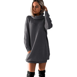e8845bc467 2019 New Winter Women Turtleneck Sweater Dress Warm Oversize Long Sleeve  Jumper Dress Pockets Casual Ribbed Knitted Mini Dress