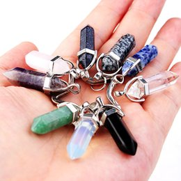 keychain bullet Canada - 39 Colors Hexagonal Prism Natural Stone Pendant Keychain Bullet Crystal Charms Key rings Jewelry Fashion Accessories