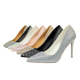 a279a68f66 Women's Fashion Banquet Women's Shoes With Shallow Mouth Pointed Sexy Slim  Diamond Rhinestones High Heel Shoes jooyoo