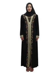 $enCountryForm.capitalKeyWord UK - Women Muslim Dress Set Auger Robes Printed Round Neck In The Long Skirt Knitted Fabric Long Sleeve