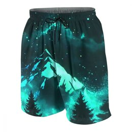 $enCountryForm.capitalKeyWord Australia - Glow Dark Starry Sky Mountain Night Custom Mens Quick Dry Beach Board Shorts Elastic Waist Swim Trunks Male Casual Short Pants