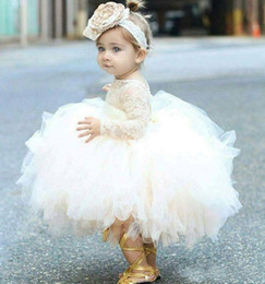 kid red white tulle tutu pictures 2019 - 2019 Lovely Ivory Baby Infant Toddler Baptism Clothes Flower Girl Dresses With Long Sleeves Lace Tutu Kids Ball Gowns Ch
