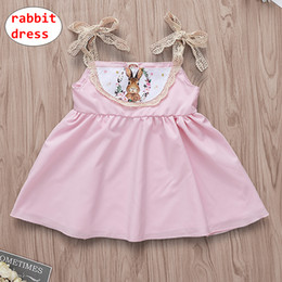 $enCountryForm.capitalKeyWord Australia - INS Baby Girl Pink dress Toddler Cute Rabbit design Dress Lace Suspender Summer dress for 0-3T