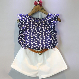 Sleeveless T Shirts For Kids Australia - New Summer Casual Children girl dress Sets Flowers Blue T-shirt+ Pants Girls Clothing Sets Kids Summer Suit For 3-7 Years