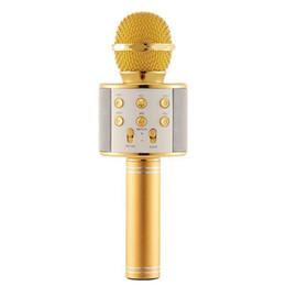 venda por atacado Sem fio Karaoke Microfone Alto-falante portátil Bluetooth Início KTV Cantar Handheld Music Player Mic para iOS Andriod telefone