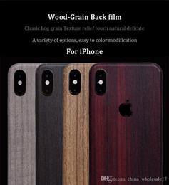 Iphone 5s Back Side Australia - Wooden Grain Vintage Stickers For iPhone 6 6S 7 8 Plus X XR Xs Max 5S SE Sandalwood Teak PVC Adhesive Back Protective Film Skins