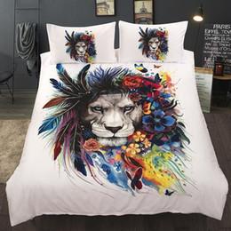 $enCountryForm.capitalKeyWord Australia - New 3pcs Ethnic style lion head Duvet Cover Sets Bedding Set Bedroom Decor(US UK AU EU Size)