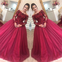 Floor art carpet online shopping - Burgundy Vestidos De Fiesta Off Shoulder Ball Gown Evening Dresses Long Sleeves Tulle with Hand Made Flowers Prom Quinceanera Dress