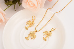 14k solid gold pendants online shopping - k Solid gold Finish Coco tree Necklace Chain earrings Pendant Fashion New Choker Jewelry sets Women Teens Girl Charms Jewelry