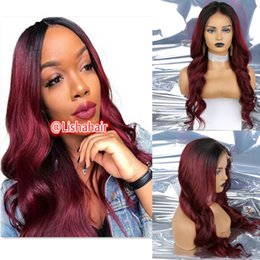 Dark Roots Hair Australia - Dark Roots 1b burgundy Ombre Burgundy Wine red Body Wave Human Hair Full Lace Wigs Glueless Brazilian Lace Front Wigs for Black Women