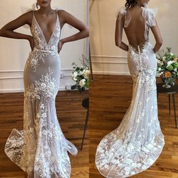 Fabulous Red Wedding Dresses Australia - Fabulous Deep V Neck Appliqued Lace Wedding Dress Sexy Backless Sweep Train Country Beach Mermaid Wedding Gown With Bow Knots