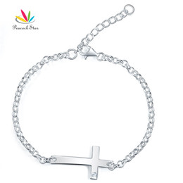 $enCountryForm.capitalKeyWord NZ - Kids Girl Gift Children Jewelry Solid 925 Sterling Silver Cross Bracelet CFB8008 Dropshipping Service Available