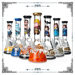 game thrones glasses 2019 - New Game Of Thrones Bong 10 Inches Glass Smoking Water Pipes Heady Glass Hookah Beaker Cigarette Pipes Mix Pattern Art B