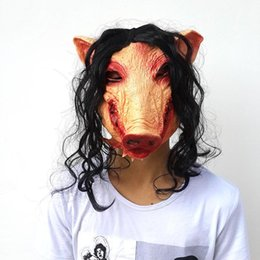 38c8c24367f1 Saw Pig Head Scary Masks Halloween Creepy Animal Prop Latex Mask Full Head  Scary Cosplay Costume Pig Mask Black Hair Creepy