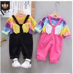 wing tracksuits NZ - 2pcs set Baby Girls Clothes Set Cartoon Toddler Baby Infant Girls Outfits Long Sleeve T-shirt + Wing Bib Pants Kids Clothing Sets Tracksuit