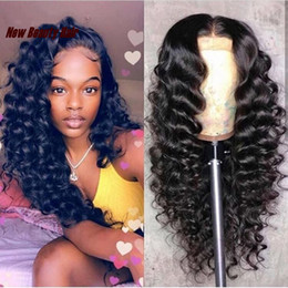 human hair wigs for white women 2019 - Long natural glueless simulation Lace Front Human Hair Wigs deep Wave Wig For Women Natural Black 13x4 Lace Frontal Wig