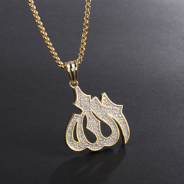 ArAbic chAin online shopping - 2019 New Hip Hop Zircon Arabic Muslim Pendants Necklace Copper Islamic Necklace Gold Color For Mens Necklaces