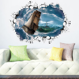 $enCountryForm.capitalKeyWord Australia - Sailing boat Lighthouse Wall Sticker PVC Self-adhesive Wall Broken Shipping Wall Art Mural for Living Room Study and Bedroom Home Decoration