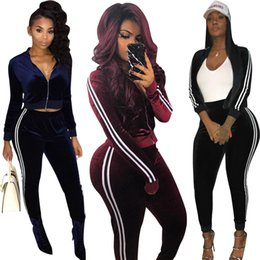 $enCountryForm.capitalKeyWord NZ - Women Clothes Two Piece Sets 2 piece woman set womens sweat suits hot sale autumn and winter casual personality gold velvet sports suit
