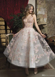 $enCountryForm.capitalKeyWord Australia - Fabulous Pink Floral Prom Gowns Sheer Jewel Neck A Line Short Formal Dress Evening Gowns Button Back Ankle Length robe de soiree