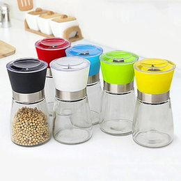 Manual de la herramienta de la cocina Sal Pimienta Molino Grinder botella de cristal de la especia pimienta Muller Molienda pote de aderezo colorido condimento amoladoras DBC VT1032 en venta