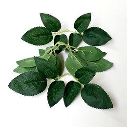 wholesale artificial rose leaf Canada - 10PCS Artificial Leaves Wedding Home Decoration Rose Leaves DIY Cut And Paste Craft False Flowers Artificial Plants