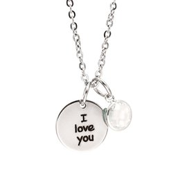 Christmas Pendant Rhinestone Australia - Fashion Stainless Steel Necklace I Love You For Mom Family hollow Pendant Link Chain Sweater rhinestone Necklace Christmas mother's day