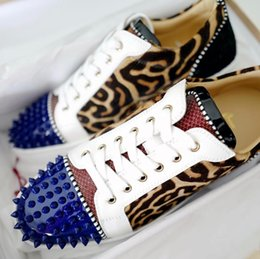 Army Wedding Dresses Australia - Fashion Leopard Leather Spikes Toe Casual Red Bottom Luxury Designer Sneaker Shoes Women Men Outdoor Shoes -- Party Dress Wedding