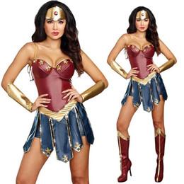 Wonder Women costumes online shopping - Sexy Superhero Halloween Costume Wonder Woman Cosplay Character Dress Sleeveless Sleeveless Costume Three Piece Set S XL