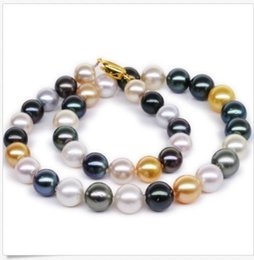 "black south sea pearl necklaces 2019 - 2019AA HUGE 18""10-12MM NATURAL SOUTH SEA GENUINE WHITE GOLD BLACK MU PEARL NECKLACE 14K discount black south sea pe"