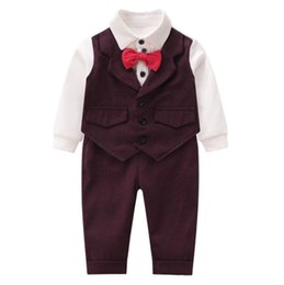 $enCountryForm.capitalKeyWord Australia - Infant kids 1st birthday party outfits toddler kids Bows tie waistcoat fake two piece romper+pants 2pcs sets baby boy clothes F9448