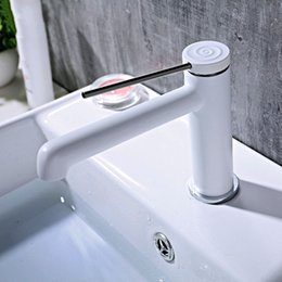 Painting Decks NZ - Basin Faucet White Paint Brass Bathroom Hot And Cold Mixer Long Handle Deck Mounted Water Tap Black Paint Chrome plated 3 Choice