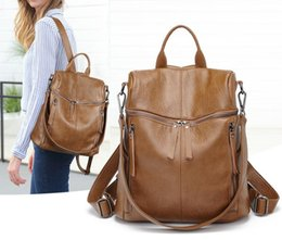 large genuine leather backpack UK - 2019 new shoulder bag women's fashion wild leather bag casual soft leather anti-theft backpack dilun67