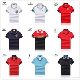 Polo Dark Blue Australia - Hot Slim-fit polo shirt in luxury 100% Mercerized Cotton colorblocking M- XXXL Black polo men with tipped collar in dark blue