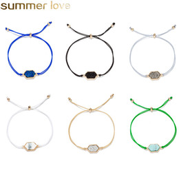 Discount naturals crystal stone - Fashion Gold Sparkling Crystal Quartz Druzy Bracelets Natural Resin Stone Wax Rope Bracelets Bangles for Women Summer Be