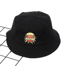 79f4ed21cb6d9a 2018 Cotton Popcorn embroidery Bucket Hat Fisherman Hat outdoor travel hat  Foldable Sun Cap Hats for Men and Women 570