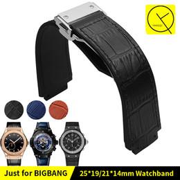 $enCountryForm.capitalKeyWord UK - Genuine Bamboo knot Leather Watchband for HUB Watch Man Strap Black Blue Brown Waterproof 25x19mm Deployment Buckle 22mm