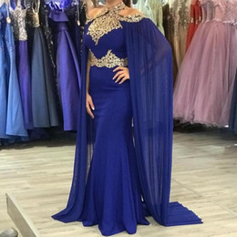 white shawl collar dress Canada - New Blue Chiffon Evening Dresses With Shawl 2020 Gold Lace High Neck Cloak Kaftan Turkey Robe Long Mermaid Prom Dresses Formal Gowns